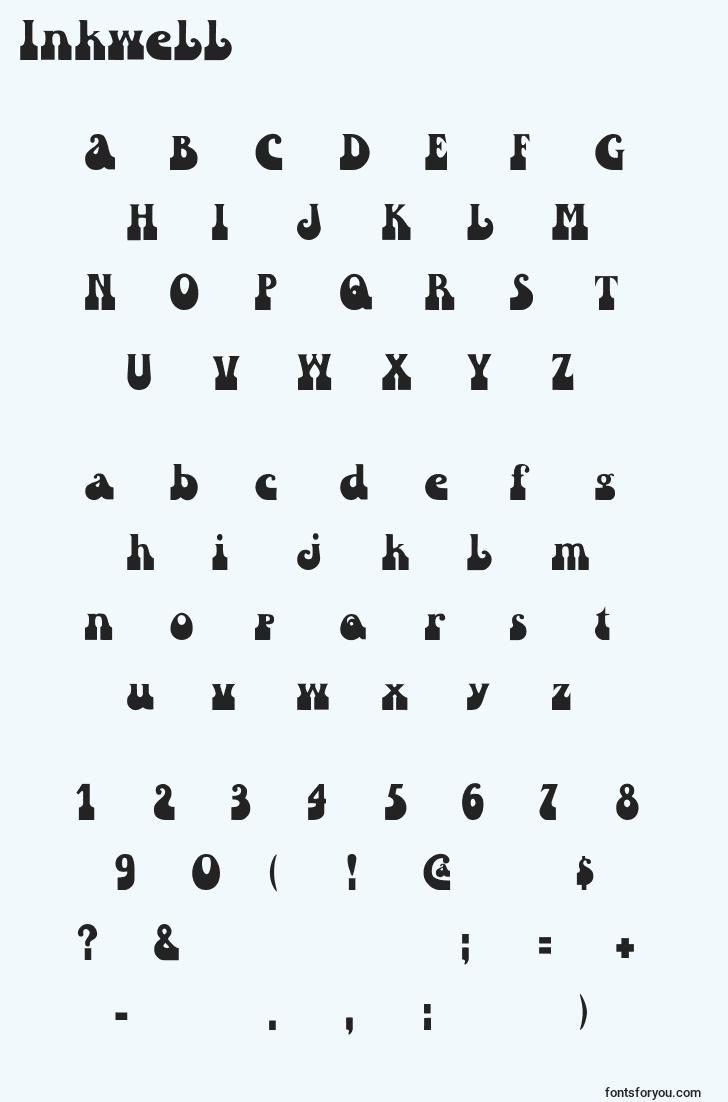 characters of inkwell font, letter of inkwell font, alphabet of  inkwell font