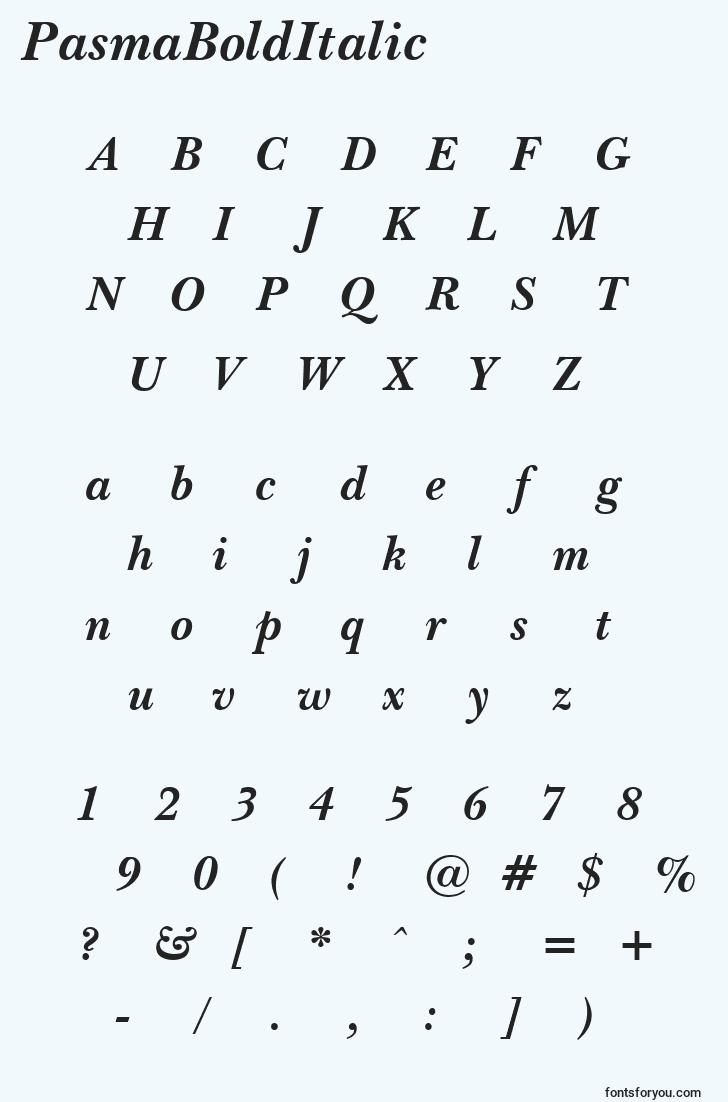 characters of pasmabolditalic font, letter of pasmabolditalic font, alphabet of  pasmabolditalic font