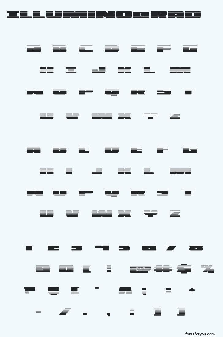 characters of illuminograd font, letter of illuminograd font, alphabet of  illuminograd font