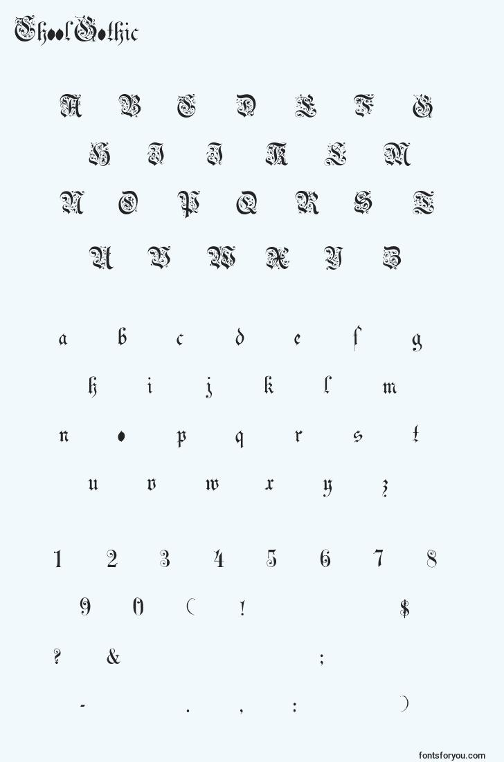characters of choolgothic font, letter of choolgothic font, alphabet of  choolgothic font
