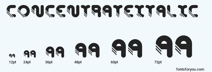 sizes of concentrateitalic font, concentrateitalic sizes