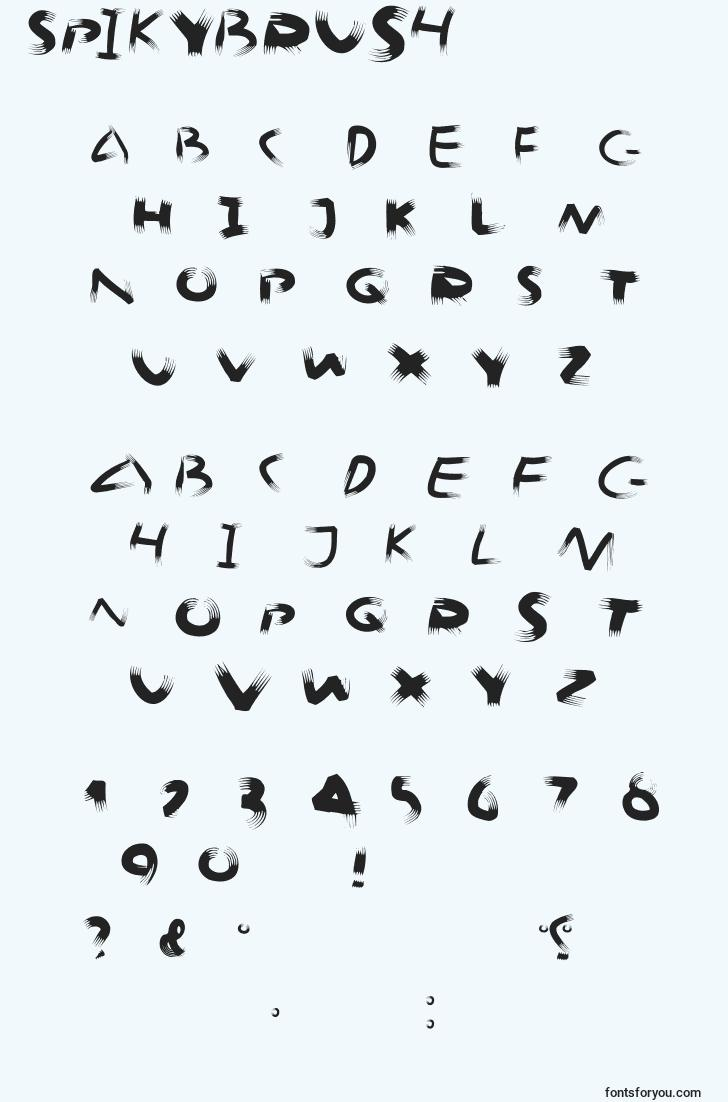 characters of spikybrush font, letter of spikybrush font, alphabet of  spikybrush font