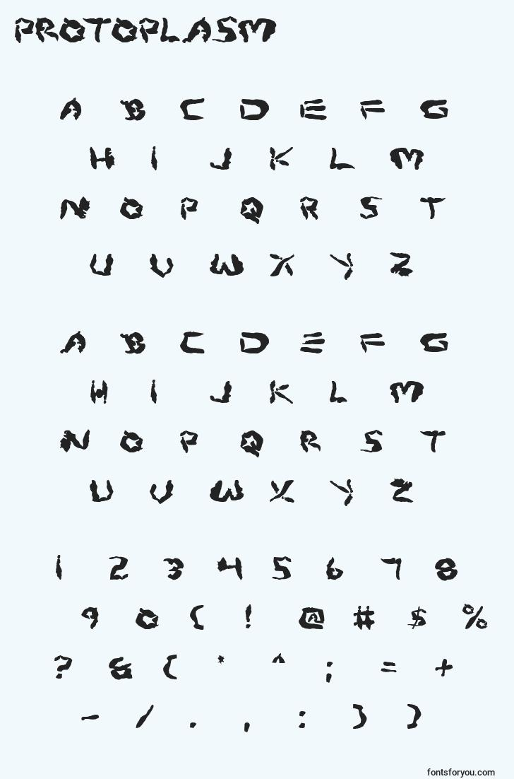 characters of protoplasm font, letter of protoplasm font, alphabet of  protoplasm font