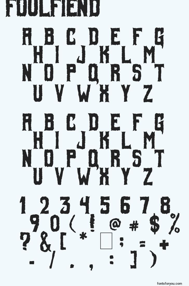 characters of foulfiend font, letter of foulfiend font, alphabet of  foulfiend font