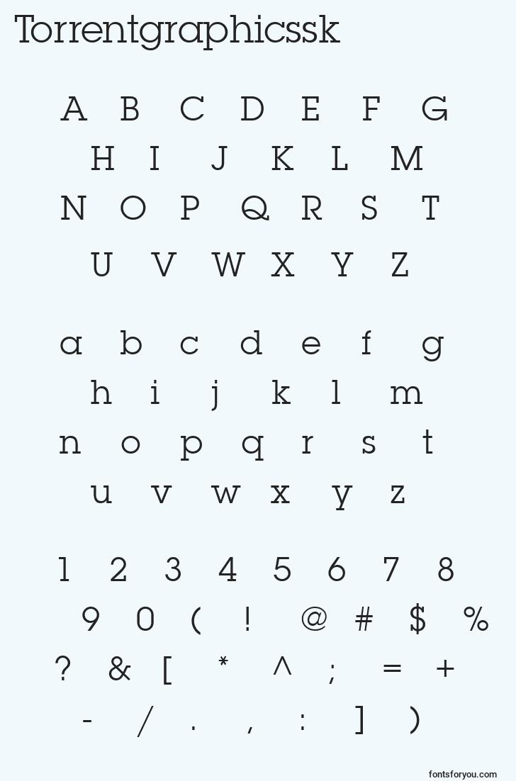 characters of torrentgraphicssk font, letter of torrentgraphicssk font, alphabet of  torrentgraphicssk font