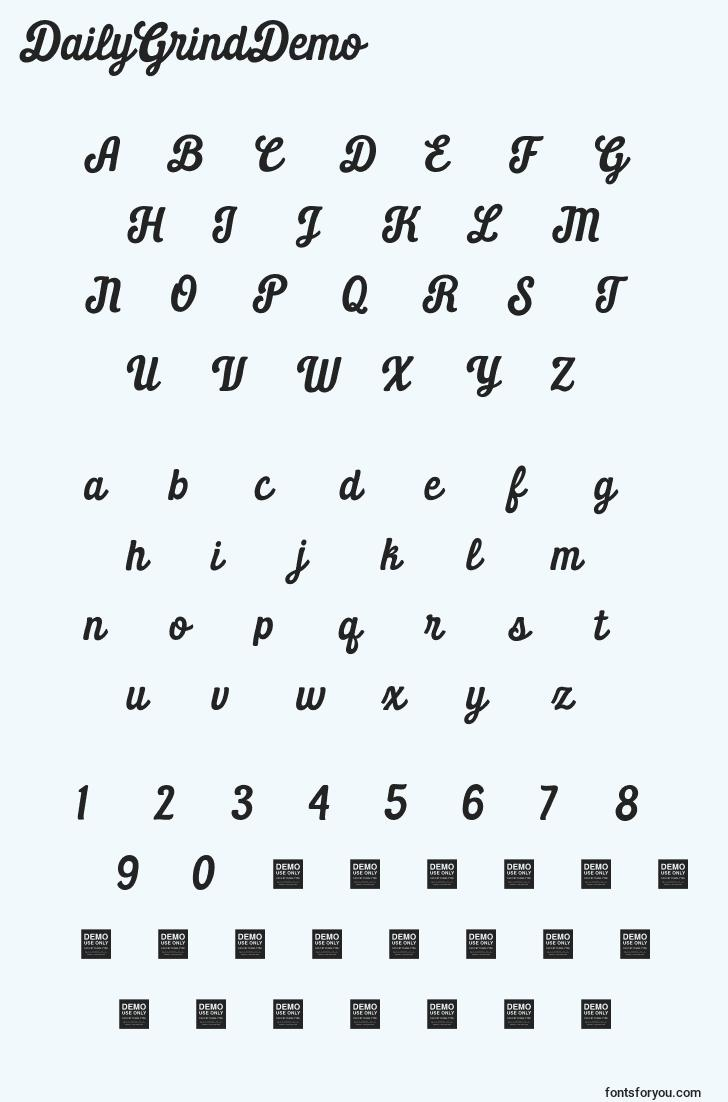 characters of dailygrinddemo font, letter of dailygrinddemo font, alphabet of  dailygrinddemo font