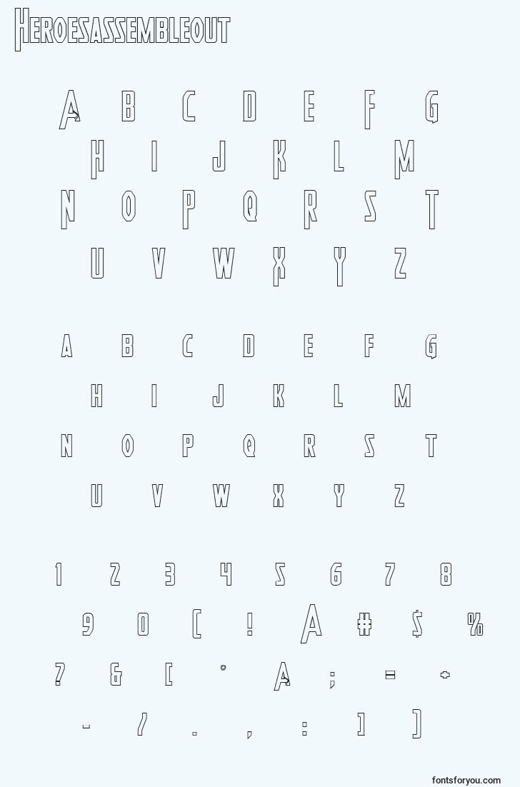 characters of heroesassembleout font, letter of heroesassembleout font, alphabet of  heroesassembleout font