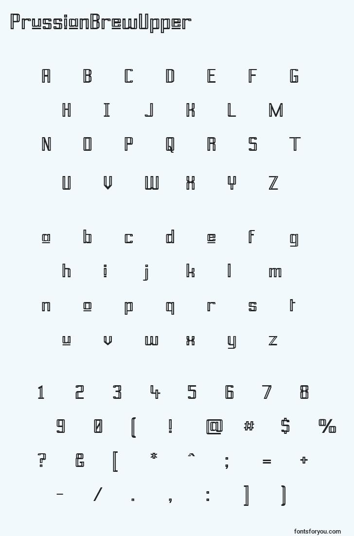 characters of prussianbrewupper font, letter of prussianbrewupper font, alphabet of  prussianbrewupper font