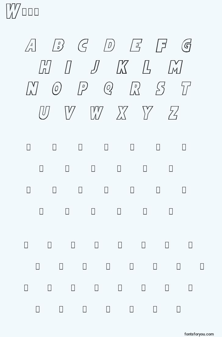 characters of wham font, letter of wham font, alphabet of  wham font