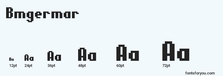 sizes of bmgermar font, bmgermar sizes