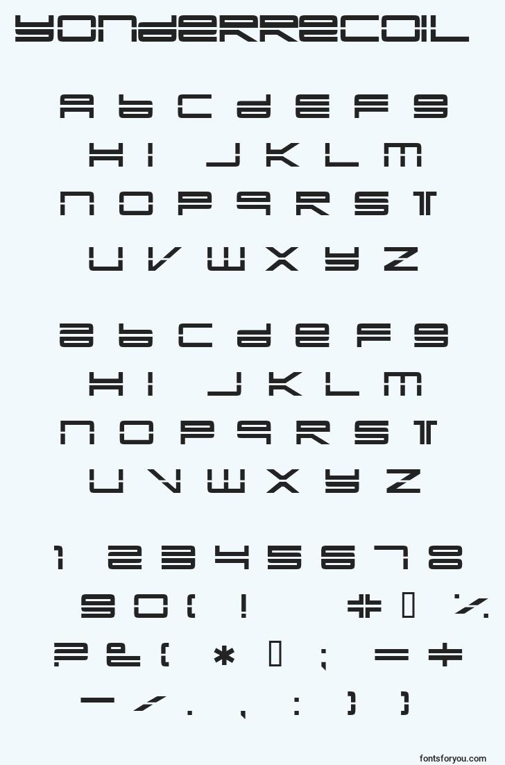 characters of yonderrecoil font, letter of yonderrecoil font, alphabet of  yonderrecoil font