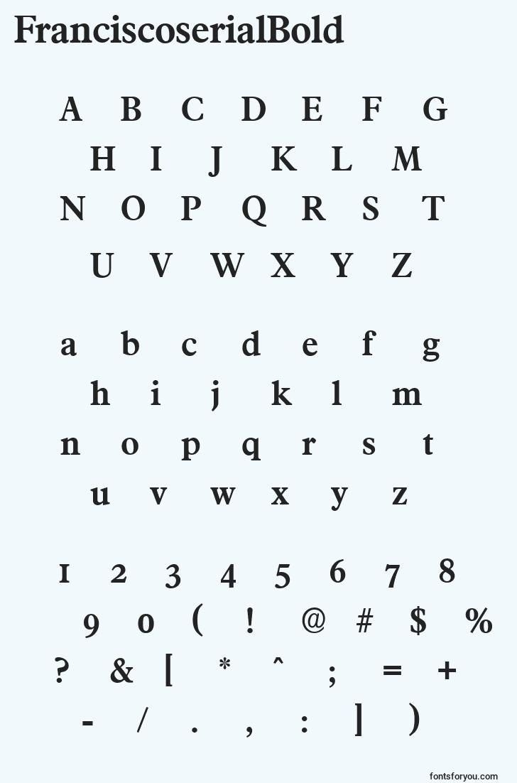 characters of franciscoserialbold font, letter of franciscoserialbold font, alphabet of  franciscoserialbold font
