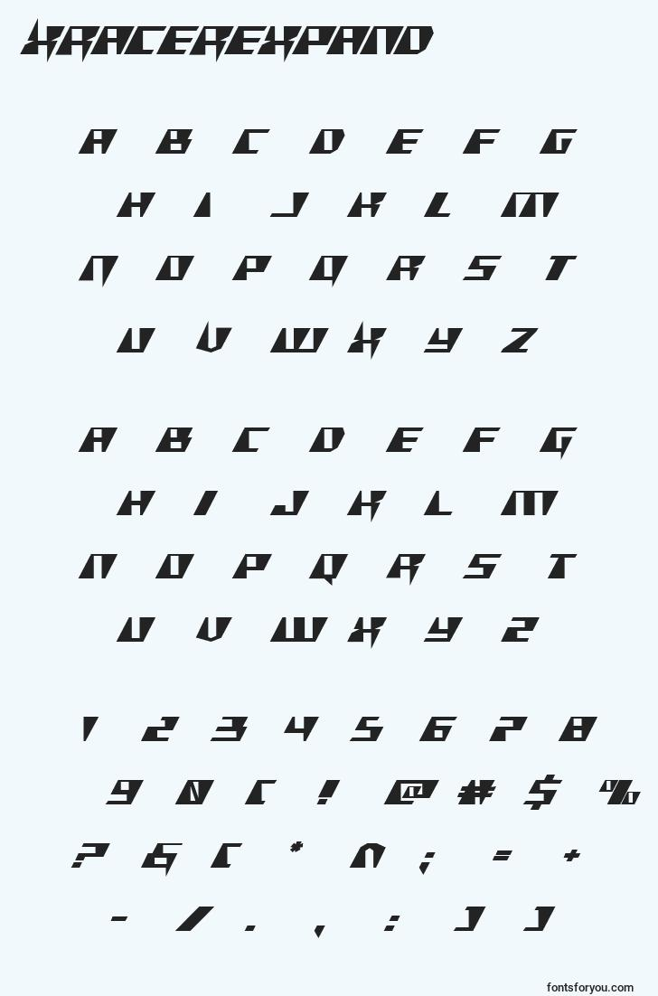 characters of xracerexpand font, letter of xracerexpand font, alphabet of  xracerexpand font
