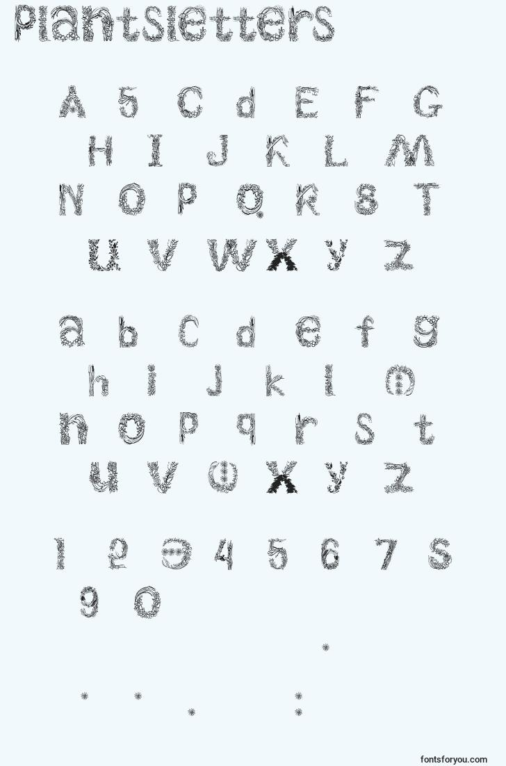 characters of plantsletters font, letter of plantsletters font, alphabet of  plantsletters font