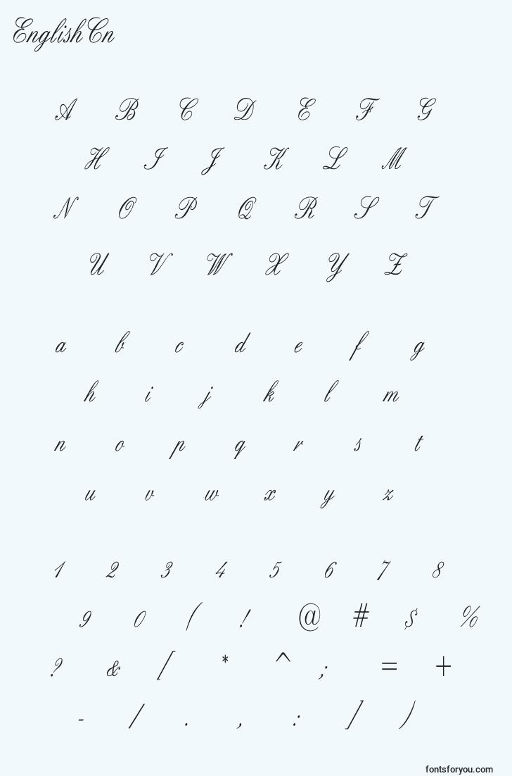 characters of englishcn font, letter of englishcn font, alphabet of  englishcn font