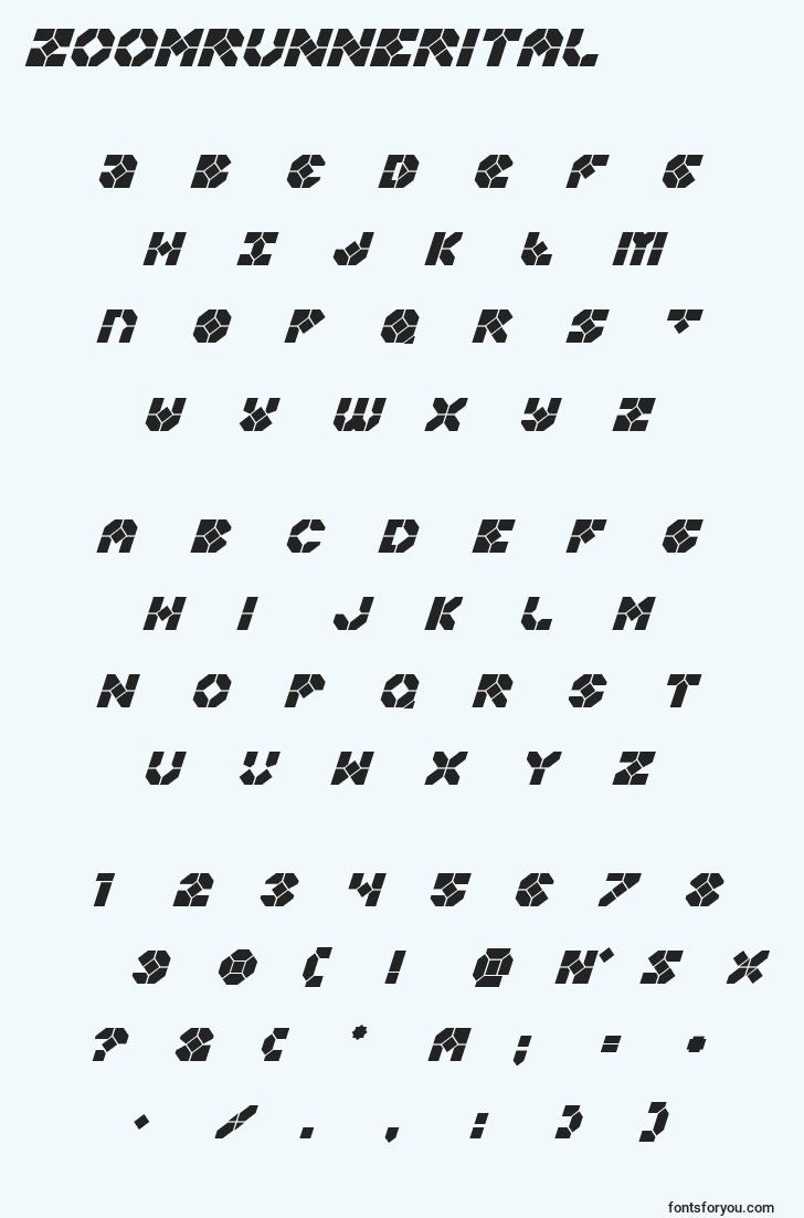 characters of zoomrunnerital font, letter of zoomrunnerital font, alphabet of  zoomrunnerital font