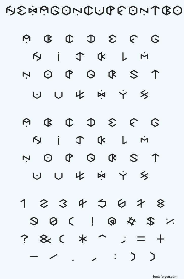 characters of hexagoncupfontbold font, letter of hexagoncupfontbold font, alphabet of  hexagoncupfontbold font