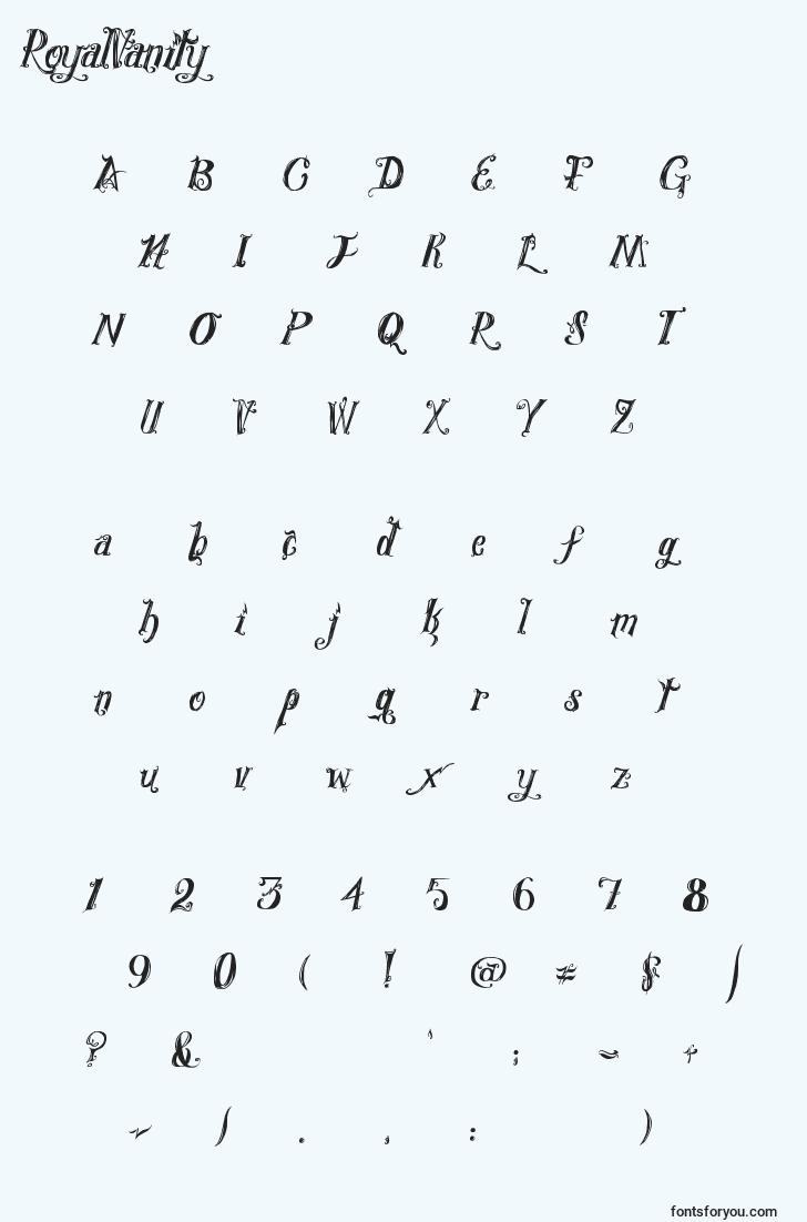 characters of royalvanity font, letter of royalvanity font, alphabet of  royalvanity font