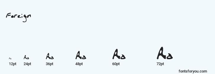 sizes of foreign font, foreign sizes