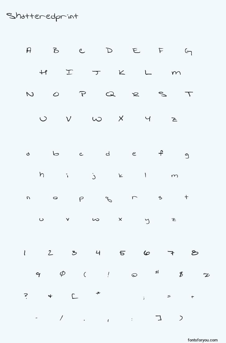 characters of shatteredprint font, letter of shatteredprint font, alphabet of  shatteredprint font