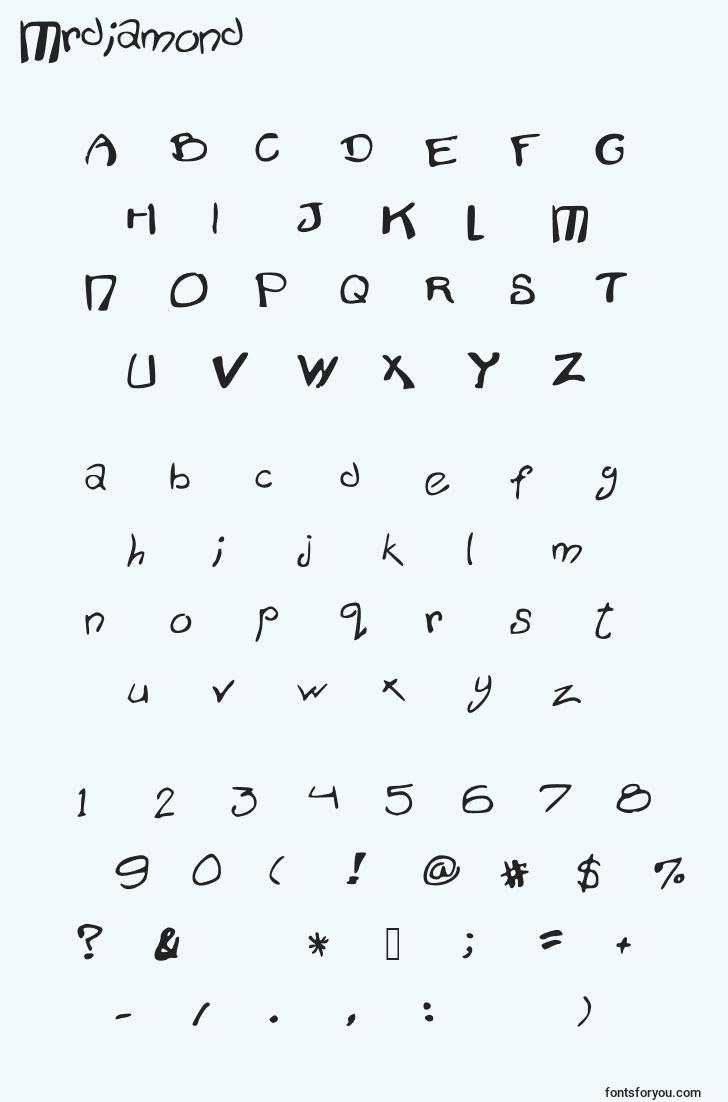characters of mrdiamond font, letter of mrdiamond font, alphabet of  mrdiamond font