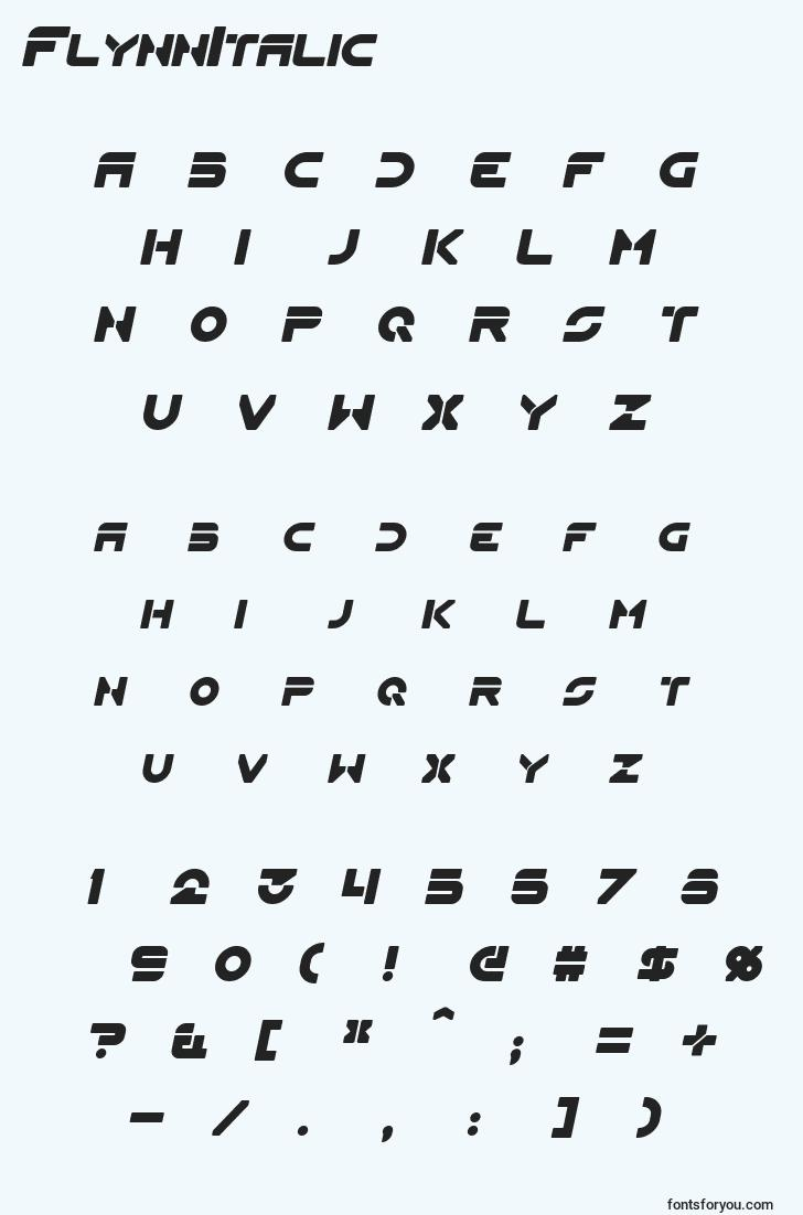 characters of flynnitalic font, letter of flynnitalic font, alphabet of  flynnitalic font
