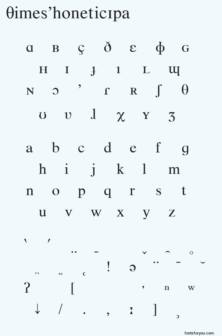 characters of timesphoneticipa font, letter of timesphoneticipa font, alphabet of  timesphoneticipa font