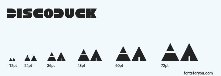 sizes of discoduck font, discoduck sizes