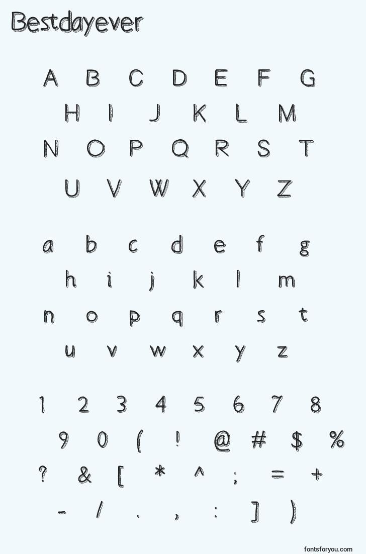 characters of bestdayever font, letter of bestdayever font, alphabet of  bestdayever font