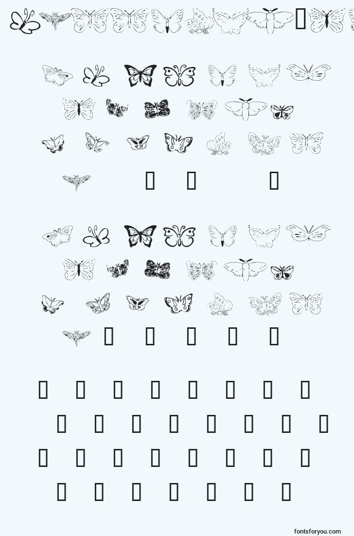 characters of butterflyheaven font, letter of butterflyheaven font, alphabet of  butterflyheaven font