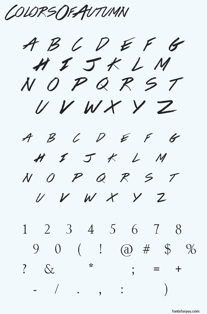 characters of colorsofautumn font, letter of colorsofautumn font, alphabet of  colorsofautumn font