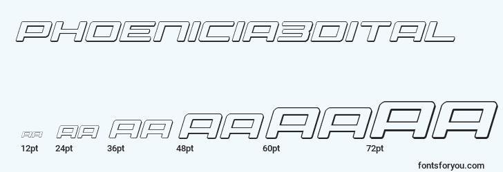 sizes of phoenicia3dital font, phoenicia3dital sizes