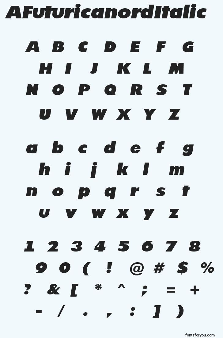 characters of afuturicanorditalic font, letter of afuturicanorditalic font, alphabet of  afuturicanorditalic font