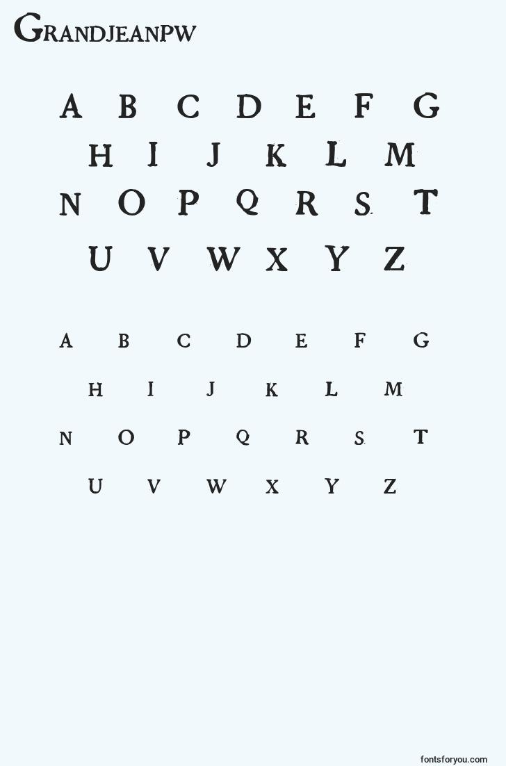 characters of grandjeanpw font, letter of grandjeanpw font, alphabet of  grandjeanpw font