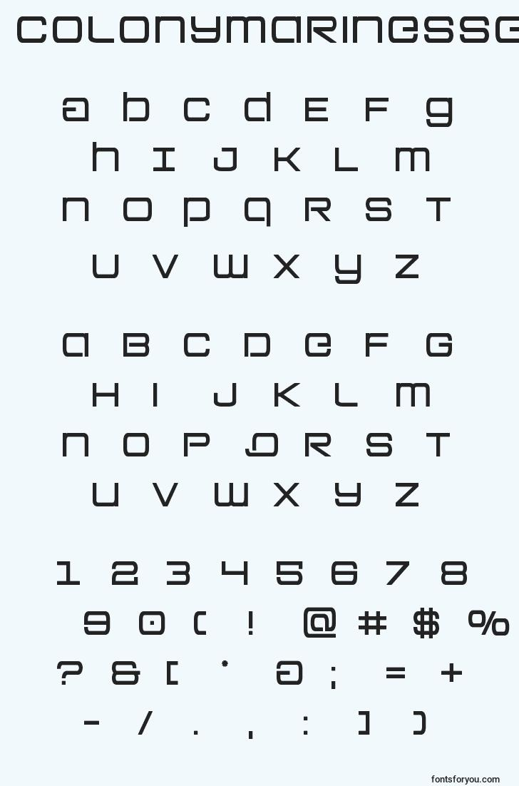 characters of colonymarinessemibold font, letter of colonymarinessemibold font, alphabet of  colonymarinessemibold font