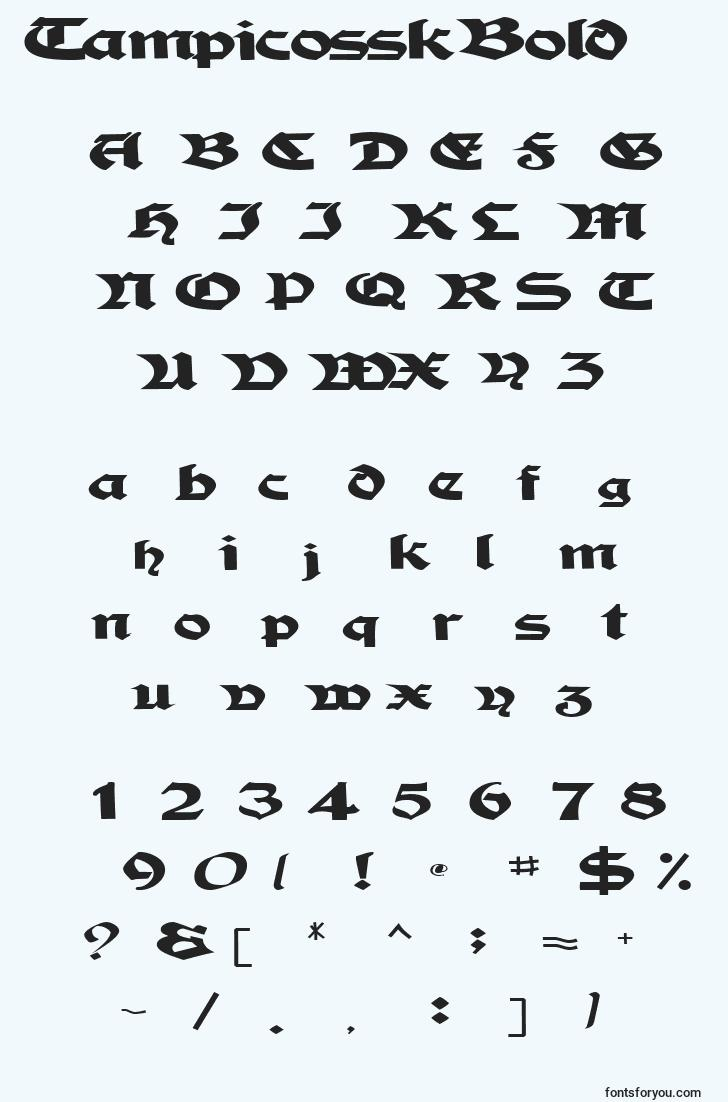 characters of tampicosskbold font, letter of tampicosskbold font, alphabet of  tampicosskbold font