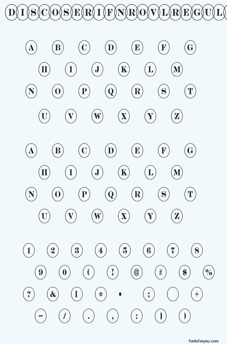 characters of discoserifnrovlregular font, letter of discoserifnrovlregular font, alphabet of  discoserifnrovlregular font