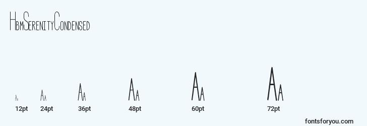 sizes of hbmserenitycondensed font, hbmserenitycondensed sizes