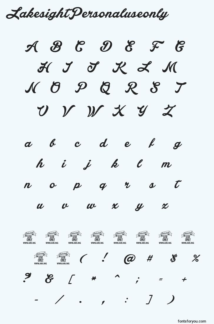 characters of lakesightpersonaluseonly font, letter of lakesightpersonaluseonly font, alphabet of  lakesightpersonaluseonly font