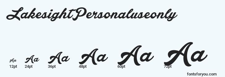 sizes of lakesightpersonaluseonly font, lakesightpersonaluseonly sizes