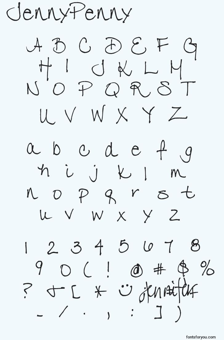 characters of jennypenny font, letter of jennypenny font, alphabet of  jennypenny font