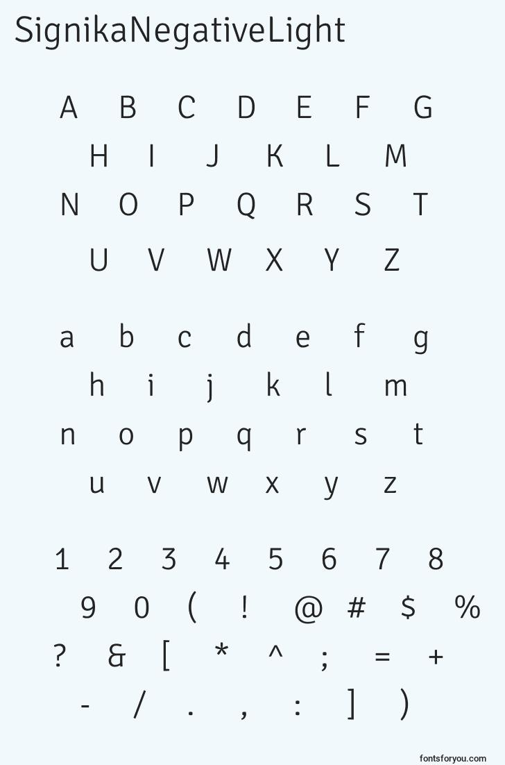 characters of signikanegativelight font, letter of signikanegativelight font, alphabet of  signikanegativelight font