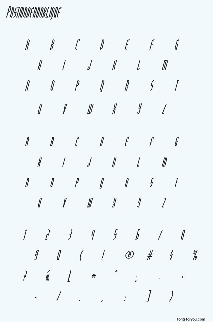 characters of postmodernoblique font, letter of postmodernoblique font, alphabet of  postmodernoblique font