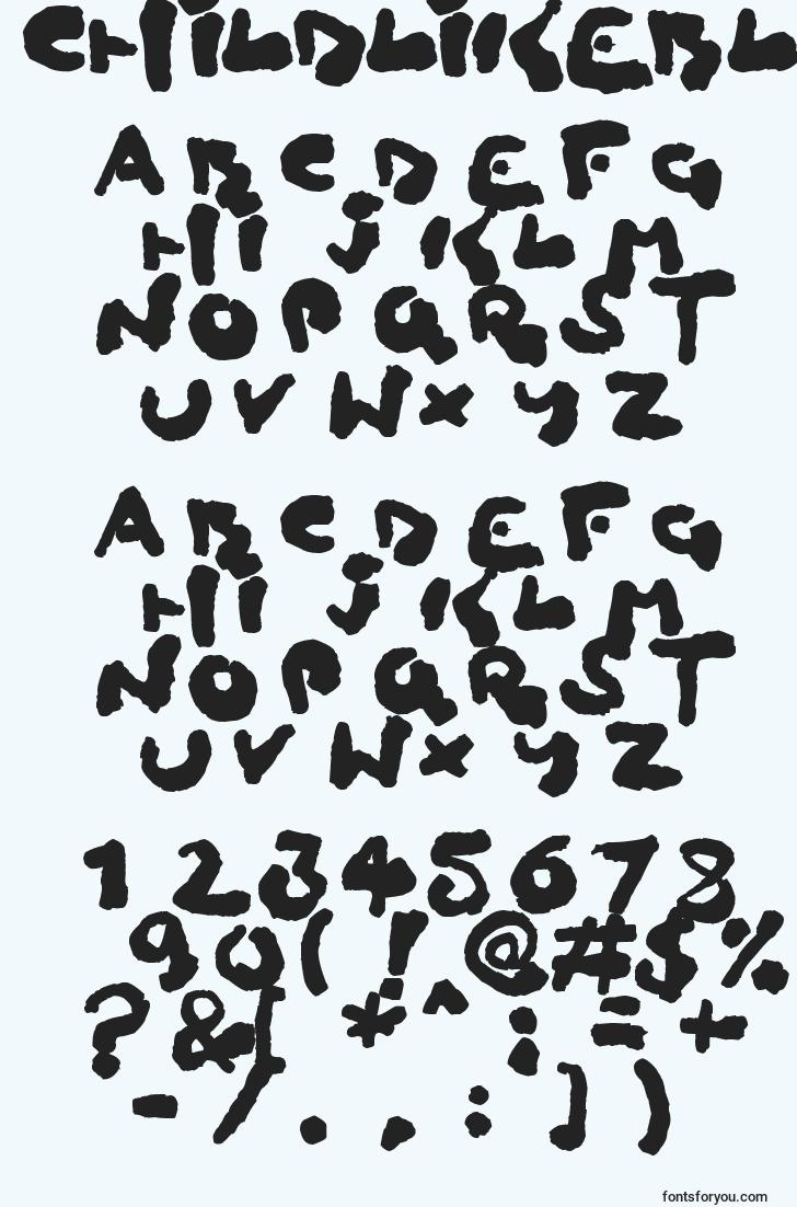 characters of childlikeblobs font, letter of childlikeblobs font, alphabet of  childlikeblobs font