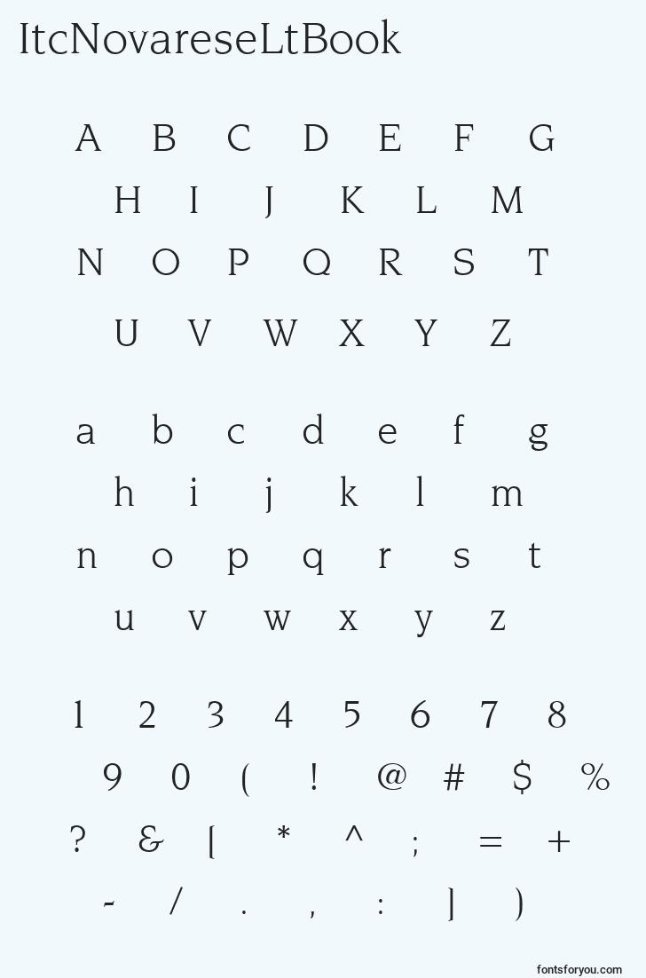 characters of itcnovareseltbook font, letter of itcnovareseltbook font, alphabet of  itcnovareseltbook font