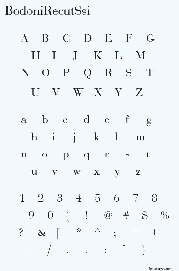 characters of bodonirecutssi font, letter of bodonirecutssi font, alphabet of  bodonirecutssi font