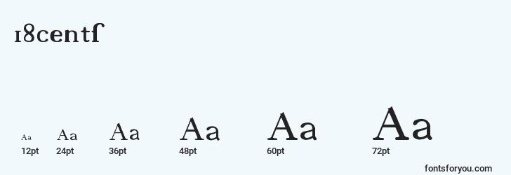 sizes of 18cents font, 18cents sizes
