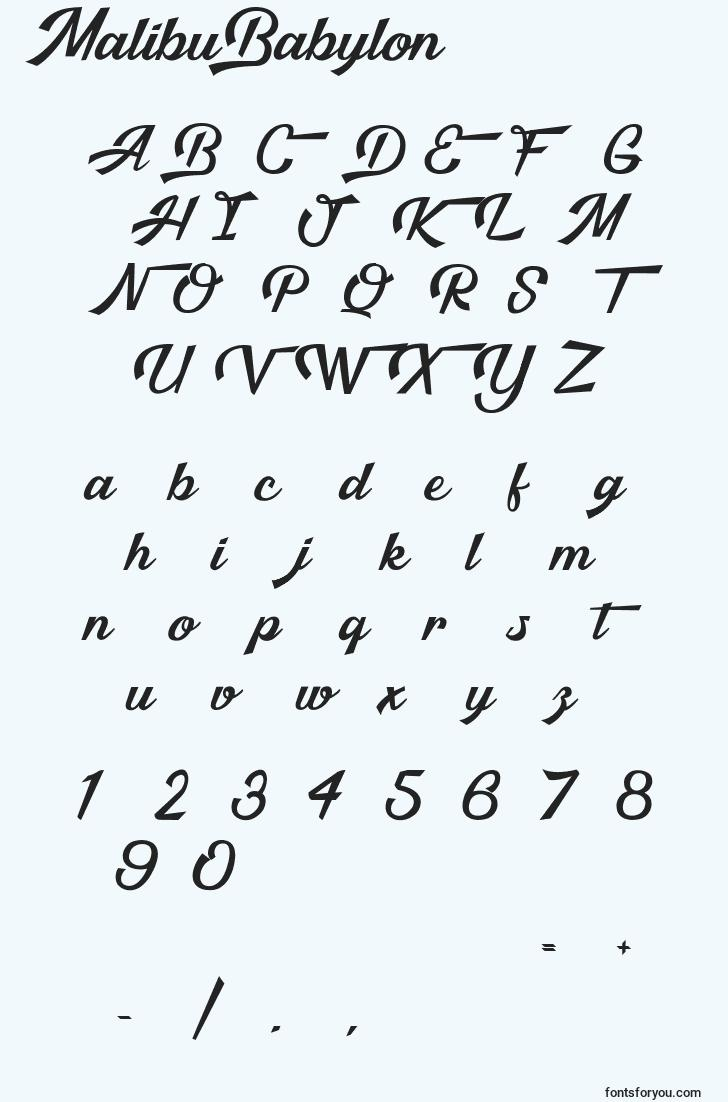 characters of malibubabylon font, letter of malibubabylon font, alphabet of  malibubabylon font