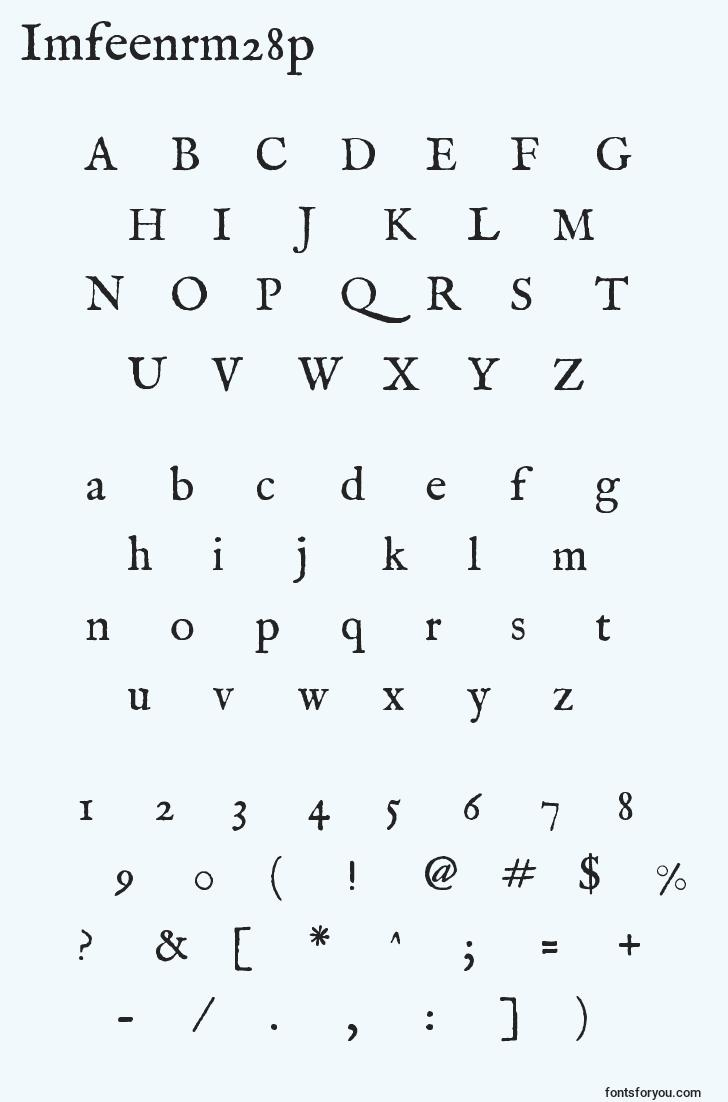 characters of imfeenrm28p font, letter of imfeenrm28p font, alphabet of  imfeenrm28p font