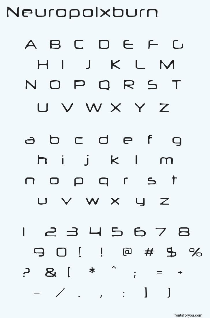 characters of neuropolxburn font, letter of neuropolxburn font, alphabet of  neuropolxburn font